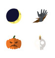 flat icon halloween set of zombie crescent vector image vector image