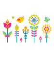 flowers set bird and butterfly vector image vector image