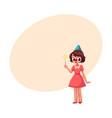 girl celebrating birthday holding star stick vector image vector image