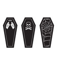 halloween coffin black and white icon set vector image vector image