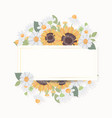 hand draw cute sunflower bouquet wreath vector image vector image