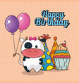 Happy birthday card with cute cow