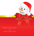 happy new year with snowman red vector image vector image