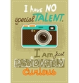 Hipster poster with vintage camera vector image vector image