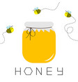 honey jar pot icon honeycomb text beehive vector image vector image