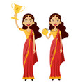 indian woman winner smiling lady raising trophy vector image vector image