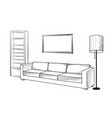 interior furniture sofa floor lamp book shelf vector image vector image