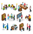 isometric students in university set vector image