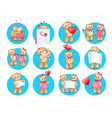loving cartoon bears flat icons set vector image vector image