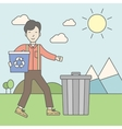 Man with recycle bins vector image