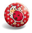 Red ladybug on round badge vector image vector image