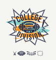 Rugby emblem college division and design elements vector image vector image