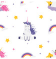 seamless pattern with cute dreaming unicorns vector image