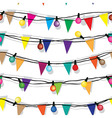 Seamless string of Christmas lights isolated on vector image