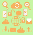 Set of communication icons on green background vector image