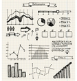 set of hand drawn doodle infographics on graph vector image vector image