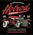 shirt design american hotrod car in vintage vector image vector image