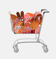 shopping cart with different meat such as roast vector image