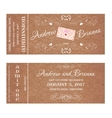 Ticket for Wedding Invitation with wedding letter vector image