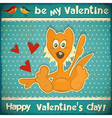 Valentines Day Retro Card vector image