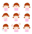 variety girl face expression vector image