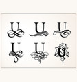 vintage set capital letter u for monograms and vector image vector image