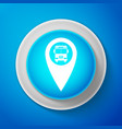 white map pointer with bus icon on blue background vector image