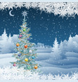 winter landscape with christmas tree vector image vector image