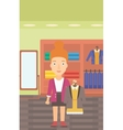 Woman holding dress with jacket vector image vector image