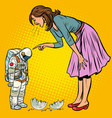 woman scolds astronaut guilty destroyed moon vector image vector image