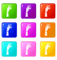 zombie hand icons 9 set vector image vector image