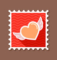 heart with wings stamp vector image