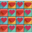 Seamless pattern with flat long shadow hearts vector image