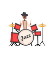 african american jazz musician playing on drums vector image vector image