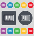 Barcode Icon sign A set of 12 colored buttons Flat vector image vector image