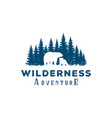 bear and pine cedar conifer wilderness adventure vector image