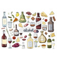 big set hand drawn alcohol drinks and glasses vector image vector image