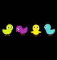 bird icon set line colorful chicken chick cute vector image vector image