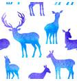 blue deer seamless pattern vector image vector image