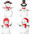 cartoon christmas snowman collection set vector image