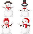 cartoon christmas snowman collection set vector image vector image