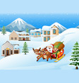 cartoon santa claus with elf riding on a sleigh wi vector image vector image