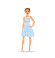 Cartoon Woman character on polka dot dress vector image vector image
