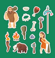 cave people elements cartoon cavemen vector image