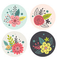 circle tags with flowers on white background vector image