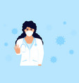 covid19-19 woman doctor in a white medical coat vector image vector image