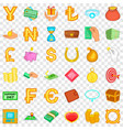 currency icons set cartoon style vector image vector image
