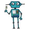 cute cartoon robot holding a flower vector image vector image