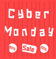 cyber monday sale with red stripes vector image vector image