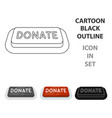 donate button icon in cartoon style isolated on vector image vector image